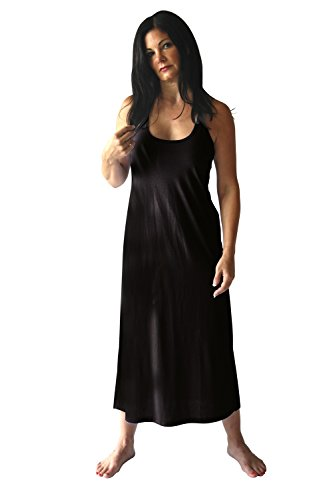 Cool-jams Moisture Wicking Long Racerback - Nightgown Tank with Shelf Bra - Cool Fabric Technology Black