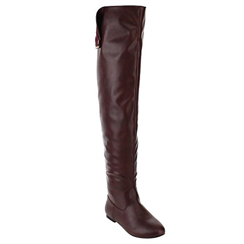 NATURE BREEZE FE61 Women Snap Cuff Over The Knee Flat Heel Boots Half Size Small, Color:WINE, (Red Flat Boots)