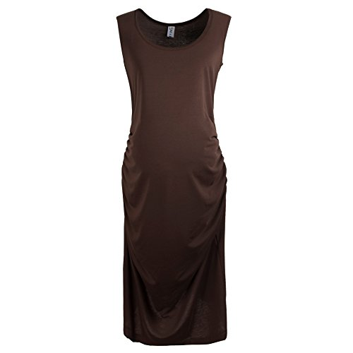 Gritu Women's Sleeveless Side Shirring Waist Maxi Midi Maternity Dress Coffee Small (Retractable Platinum Series)