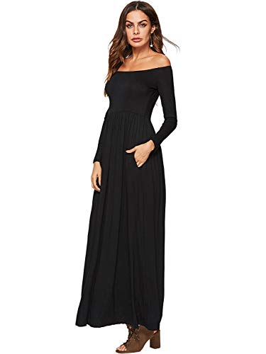 Off Shoulder Womens with Casual Amoretu Pocket Long Maxi Dress Long Sleeve Black OnAOHwI4q