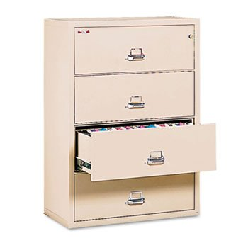 4-Drawer Lateral File, 37-1/2w x 22-1/8d, Letter/Legal, Parchment by FIREKING (Catalog Category: Furniture & Accessories / File Cabinets)