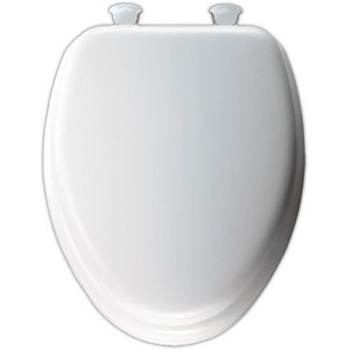 Mayfair Soft Toilet Seat with Molded Wood Core and Easy-Clean & Change Hinges, Elongated, White, 113EC 000 (Seat Usa Toilet)