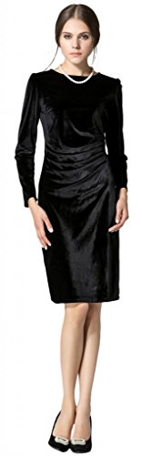 Eyekepper Vestido Plisado Delgado de Moda de Terciopelo Dorado de Manga Larga Para Mujer Negro