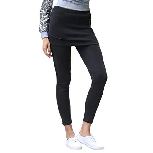 Orangeskycn Women Fold-Over Waistband Full Length Yoga Pants High Waisted Compression Pants Leggings Black