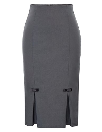(Belle Poque Plus Size Cotton Pencil Skirts Wear to Work XXL BP587-2 Gray)