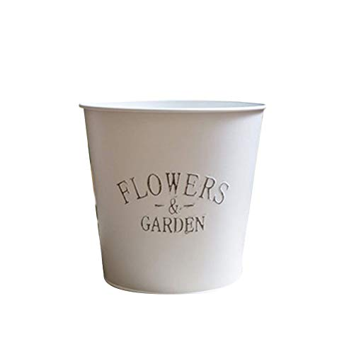 TELLW Garden Special Thick Round not Leaking Vintage tin Barrel Flower Barrel Festival Wedding Flower Pot Bucket Flowers Shop Flowers Barrel (Flower Shop Tin)
