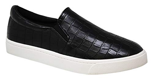 Flat Sole Shoes - SODA Shoes Women's Reign Slip On White Sole Shoes (7 M US, Croco Black)