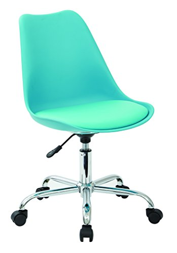 AVE SIX Emerson Polyurethane Seat Armless Task Chair with Chrome Base with Casters, Teal