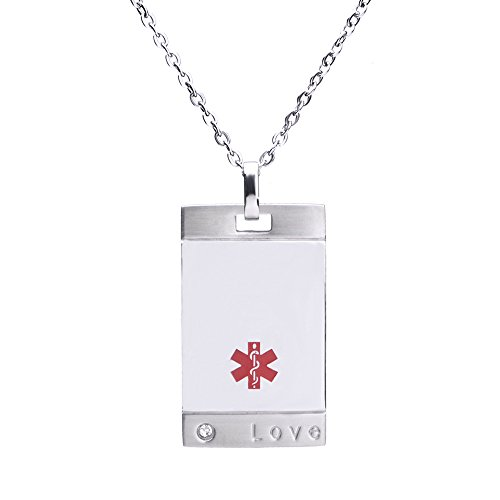 linnalove-Free Engraving Stainless Steel Love ID Pendant Medical Alert Necklaces(Steel)