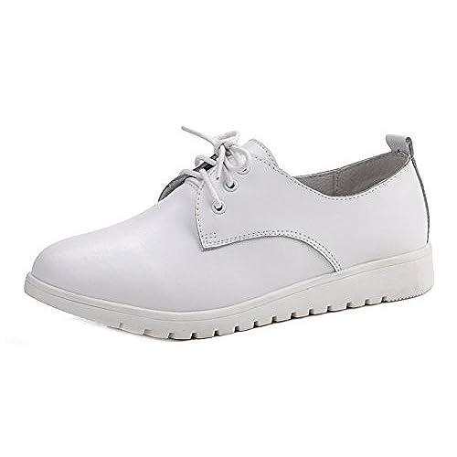 1ad769f63daca Easemax Femme Confort Chaussure de Ville à Lacets Talon Plat Derbies ...