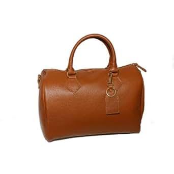 woman cognac handbag,italian genuine leather,gold metal accessories