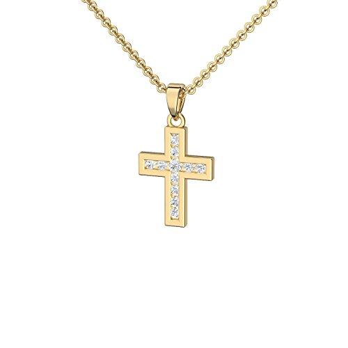 Kreuz Kette Gold (Silber 925 hochwertig vergoldet) mit Zirkonia + GRATIS  Luxusetui + Kreuz Anhänger mit Stein Kette mit Kreuz Kreuzanhänger Kommunion  ... b190aa4fba