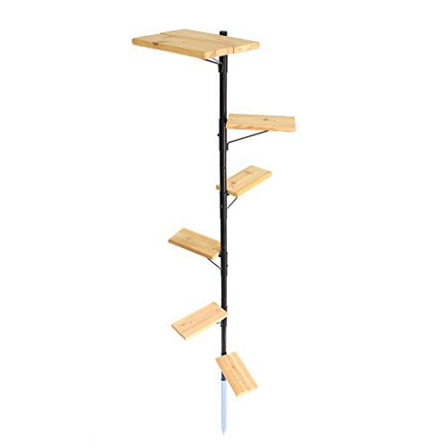 Purrfect Perch Outdoor Cat Tree, Powder Coated Metal, Cedar Stairs