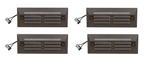 4 Pack Malibu / Proscapes 8608-0408-04 LED Full Brick Step Deck Lights, .3 watt, Low Voltage in Aged Brass Finish BY MALIBU DISTRIBUTION by Malibu