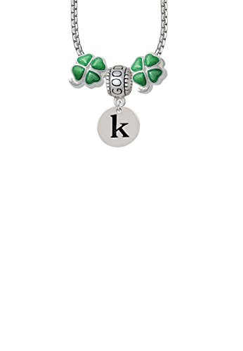 1/2' Enamel Jewelry Pendant - Disc 1/2'' Initial - k - Good Luck and Clover 3 Bead Necklace