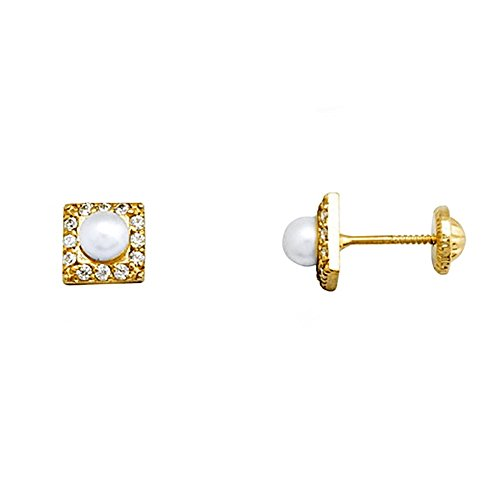 Boucled'oreille 18k or 3.5mm perle. zircons cultivées [AA5103]