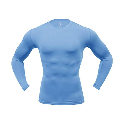 ARMEDES Men's Long Sleeve T-Shirt Baselayer Cool Dry Compression Top AR-141/142/52 (52 Sky Blue, Small)
