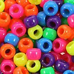 Neon Multicolor Mix Plastic Pony Beads Bulk 6x9mm, 1000 beads