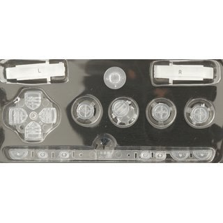 Gametown NEW Replacement Sony PSP 1000 Full Housing Shell Cover With Button Set -Crystal Clear White.