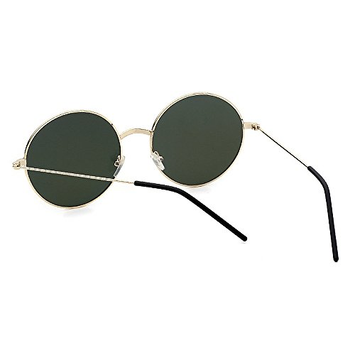 Glasses polarizadas Orange Retro de Classic Unisex Sol Green Round Frame Metal Yxsd Color Gafas Sun tw6xqzCnP