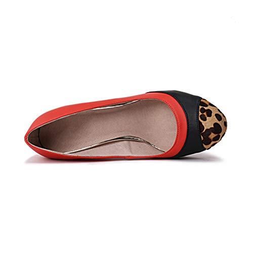 Talon Atmosphérique Tête Chaussures Red Forme Grossier Personnalité Du Étanche Mariée Hauteur De Respirant Épais Chaussures 8Cm Simples Talon Ronde Plate Pompes Talon Femmes q7tFwF