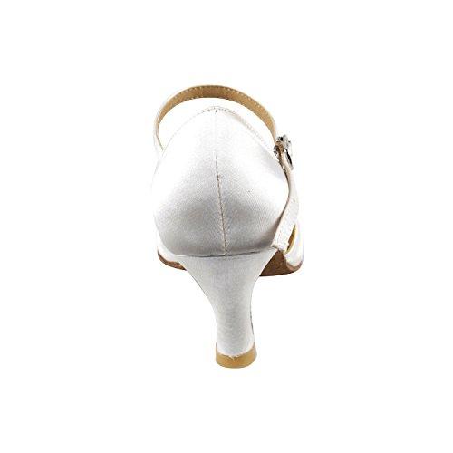 50 Nuances De Chaussures De Danse Blanches Collection, Robe De Soirée Confort Pompes De Mariage, Chaussures De Bal Pour Le Latin, Tango, Salsa, Swing, Art De La Theather De 50 Nuances (2.5, 3 Et 3.5 Talons) 3540- Satin Blanc