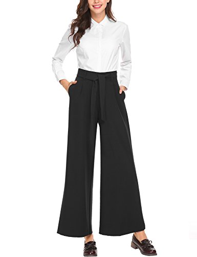 Zeagoo Women's Business Flowy Wide Leg High Waist Belted Palazzo Harem Pants (Belted Pants Gaucho)