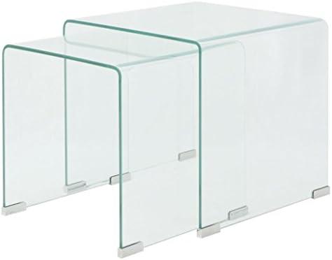 Beperkt Nieuw Tidyard- 2-dlg. Moderne salontafel van gehard glas koffietafel glazen tafel woonkamertafel transparant ASOSaCg