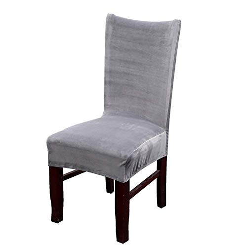 Homaxy Premium Velvet Texture Dining Room Chair Covers, Stretchable Kitchen Decoration Dining Chair Cover, Durable Anti-dust Dinning Chair Protectors Case – Set of 6, Gray Slipcover