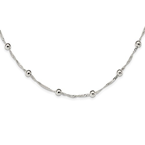 (925 Sterling Silver Beaded 18 Inch Chain Necklace Pendant Charm Bead Station Fine Jewelry Gifts For Women For Her)