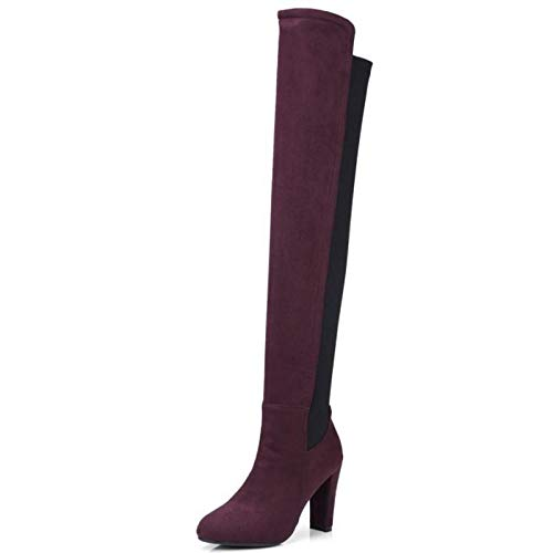 HAOLIEQUAN Frauen High High High Heel Stiefel Mode Overknee Schuhe Frauen Winter Warme Stiefel Lange Schuhe Größe 34-43, Weinrot, 10 - 48a1f2