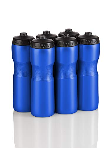 50 Strong Jet Stream Sports Squeeze Water Bottle with One-Way Valve - Team Pack - Set of 6 Bottles - 28 oz. - Made in USA (Blue/Black) ()