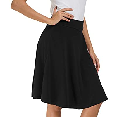Afibi Womens Stretch Waist A-line Flared Skater Midi Skirt at Women's Clothing store