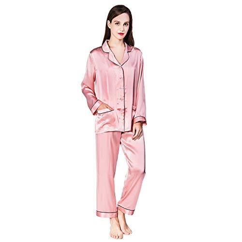 (COLD POSH Women 100% Silk Satin Pajama Set Classic Long Sleeve Sleepwear Button-Down PJ Set Luxury 22 Momme Loungewear,Pink,XL)