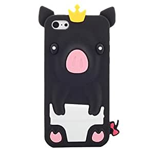 GHK - Cartoon Pig Wearing Crown Silicone Soft Case for iPhone 5C (Assorted Colors) , White