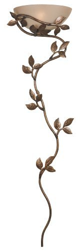 Kenroy Home 20624GLBR Flower vine Wallchiere Golden Bronze finish with Amber glass shade by Kenroy Home