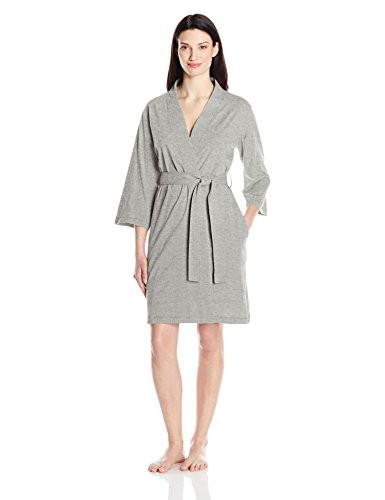Amazon Essentials Women's 100% Cotton Robe, Heather Grey, Small