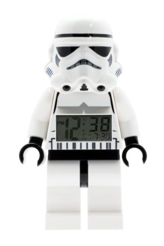 37 Stormtrooper Kids Minifigure Light Up Alarm Clock | black/white | plastic | 9.5 inches tall | LCD display | boy girl | official ()