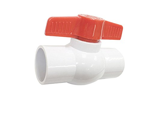 1-1/2'' Inline PVC Ball Valve - 1 5-In TeeHandle Shut-Off Valves - Slip  Solvent Socket Schedule 40 Pipe T Connector - EPDM Seal Schedule 40 End -