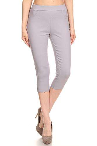 Jvini Women's High Waist Pull-On Skinny Super Stretchy Capris Jegging(Medium, Capri-Light Grey)
