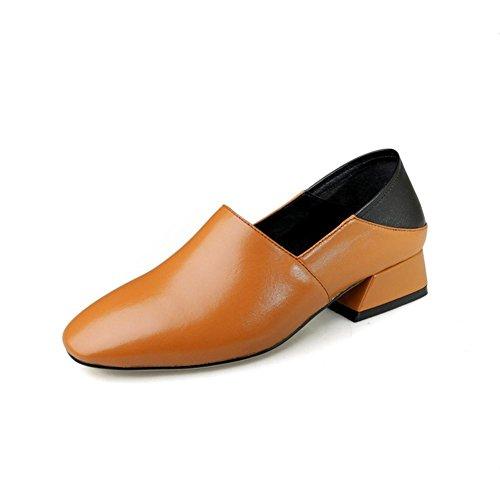 b094f481 30% de descuento Mujer Cuero Casual Bajo Fornido Áspero Tacón Para caminar  Perezoso Zapatos Comodidad