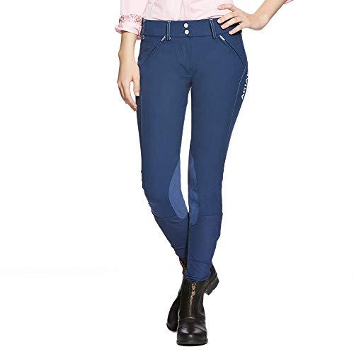Ariat Breeches (ARIAT Women's Prix Low Rise Knee Patch Front Zip Knee Patch Breech Indigo Size 28 Regular)