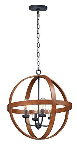 Maxim Lighting 27584CDAPBK Compass - Four Light Outdoor Pendant, Antique Pecan/Black Finish with Seedy Glass