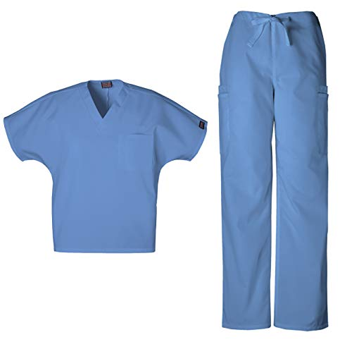 Cherokee Mens Workwear Scrub Set Medical/Dentist Uniform V-Neck Top & Cargo Pant (Ciel, Small)