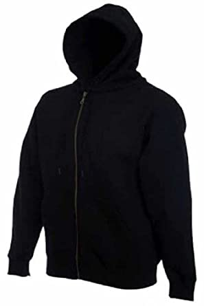 Mens plain black hoody Full zip up hooded jacket gents 4XL: Amazon ...
