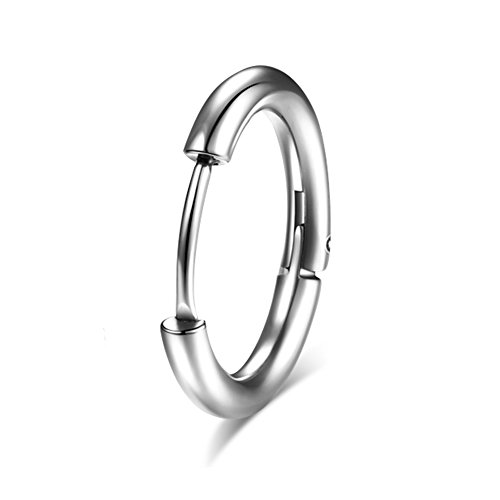 Hoop Circle Earring Clips Mens Titanium Steel Single Ear Earrings Silver Black -