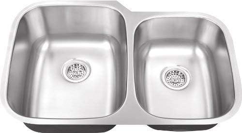 801M 31-1 2 x 20-1 2 x 9 60 40 Offset 18 Gauge Double Bowl Stainless Steel Sink Kitchen Sink