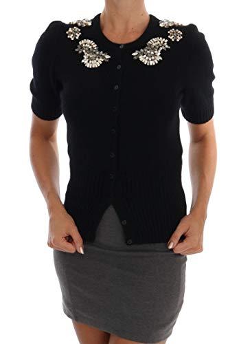 (Dolce & Gabbana Black Cashmere Crystal Cardigan)