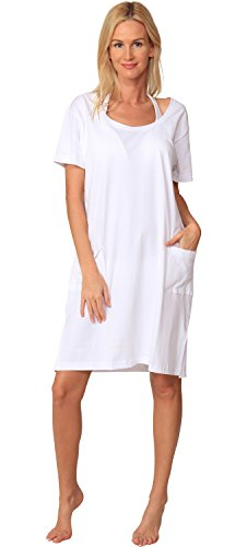 Beach Dress Cover Up Size Short Summer Plus Sleeve Casual Cotton Solid INGEAR White White IZFqw