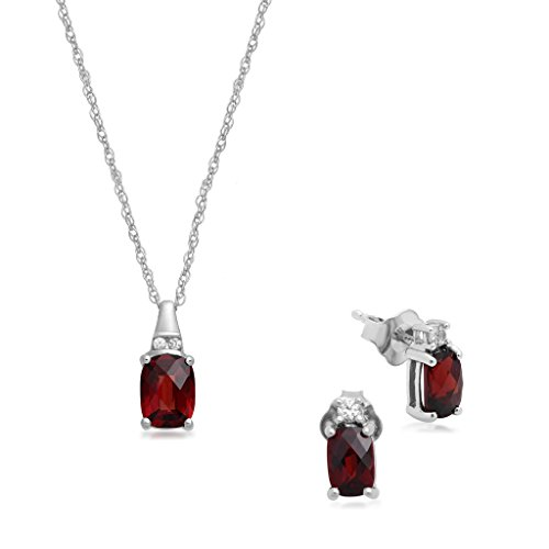 Jewelili Silver Checkerboard Cushion Garnet Pendant Necklace and Earrings Boxed Set